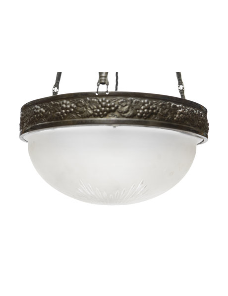 Glass pendant lamp, frosted glass bowl on a brown decorative chain, 1930s