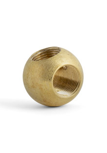 Pipe Connector, Sphere (Ball Shape), 3-Holes, Brass,  T-Connection