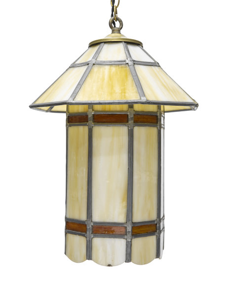 Stained glass hanging lamp in the shape of a lantern, 1930s