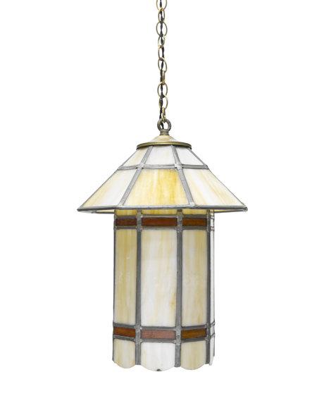Glas-in-Lood hanglamp in de vorm van een lantaarn, ca. 1930