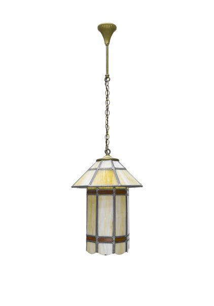 Art Deco Hanglamp, Glas-in-Lood, Jaren 30