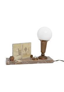 Antique Table Lamp, with Picture Frame, 1930s