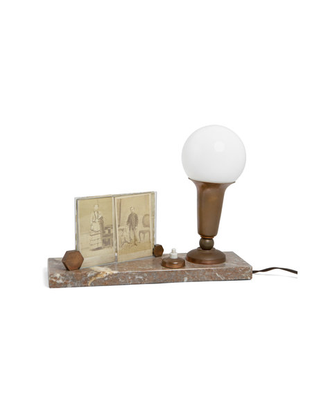 Classic table lamp, with picture from on the base, 1930s