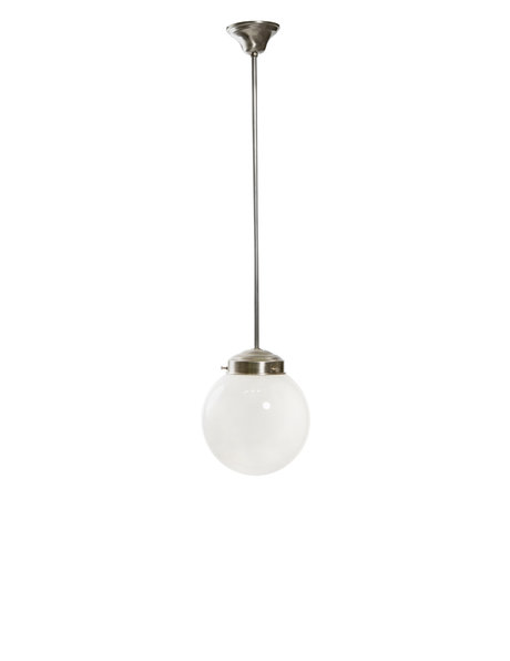 Industrial pendant lamp, white sphere on chrome fixture, 1960s