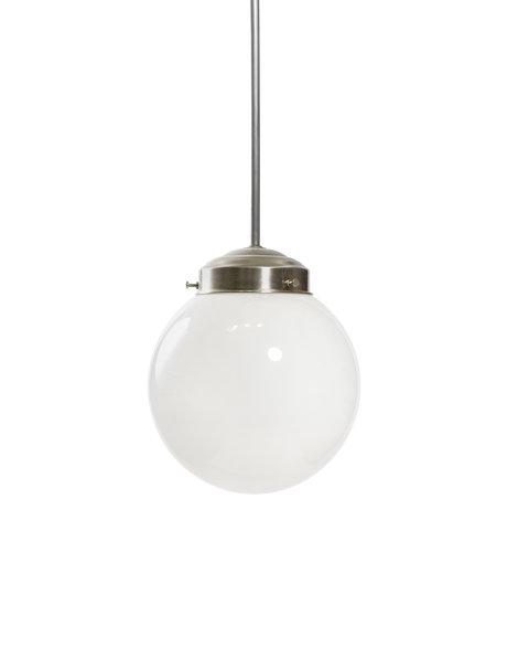 Industriële hanglamp, lampenkap aan chroom armatuur, ca. 1960