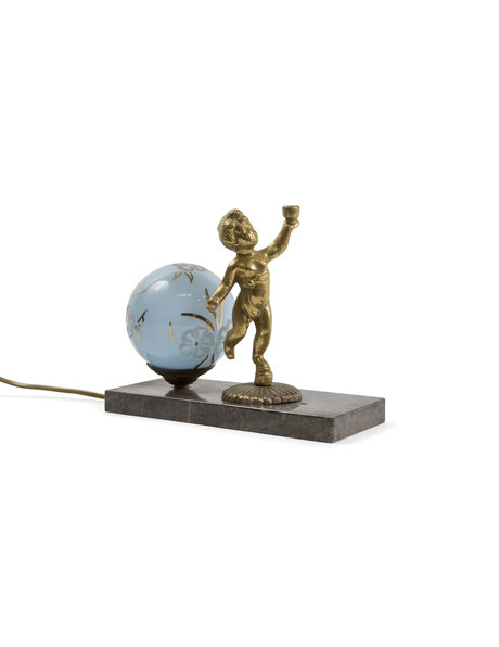Classic table lamp, putto on natural stone tile, 1930s
