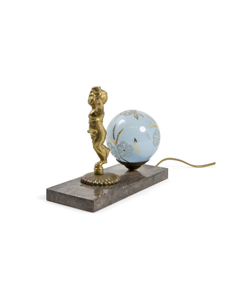Classic table lamp, putto on natural stone tile, approx. 1930