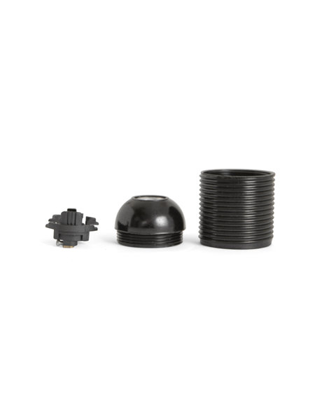 Lamp Socket, E27 fitting, black plastic, with screw thread