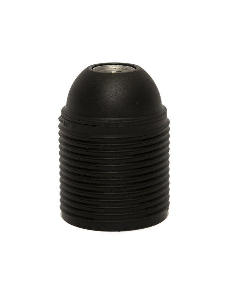 Lamp Socket, E27 fitting, black plastic, with screw thread