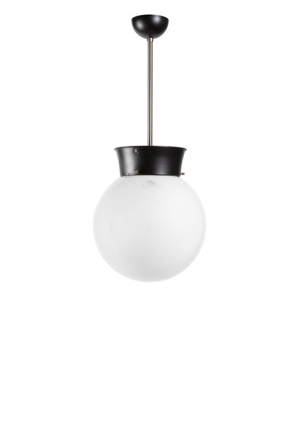 Industrial Pendant Lamp, White Glass Sphere, approx. 1940s