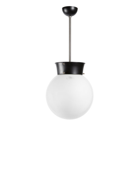 Industrial pendant lamp, white sphere, 1940s