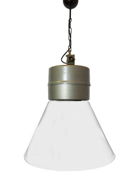 Industrielamp, groot model doch wel licht materiaal, witte kap met zilverkleurige houder