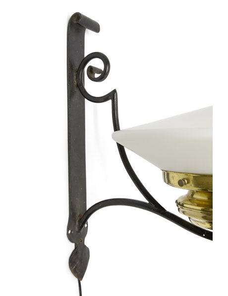 Wrought iron wall lamp with glass lampshade, ca. 1940