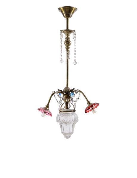 Brocante hanglamp, speels armatuur met 4 lichtpunten, ca. 1930