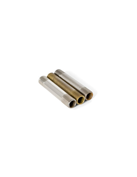 Brown brass tube (pipe), height: 5.0 cm ( =2.0 inch), diameter: 1.0 cm (= 0.4 inch), screw thread x 1