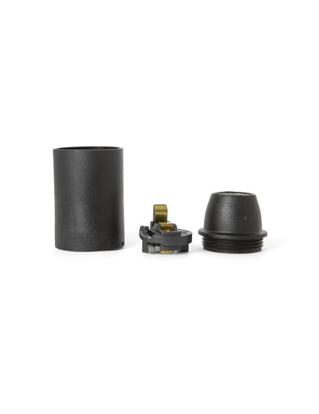 Black (matt) lamp socket, E14 fitting, smooth external surface