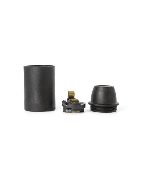 Zwarte (mat) fitting, E14, gladde buitenzijde