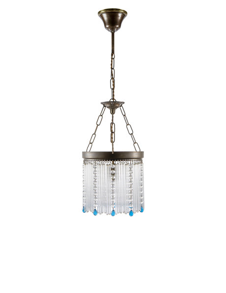 Classic hanging lamp, on chain, with glass beads, approx. 1930s