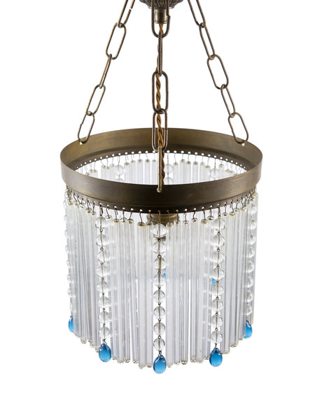 Classic hanging lamp, on chain, with glass beads, 1930s