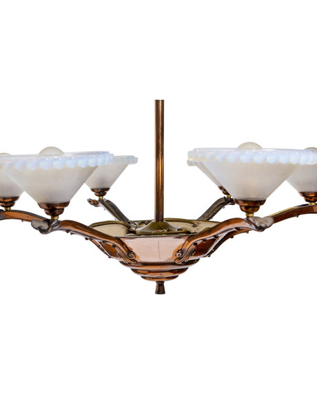 Art deco hanging lamp, copper with mother-of-pearl glass, ca. 1930