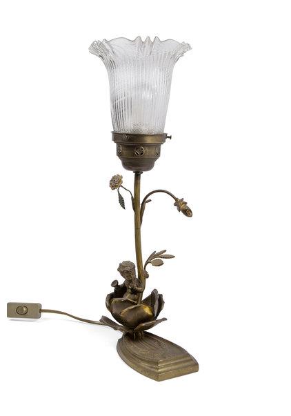 Antieke Tafellamp met Cherubijn