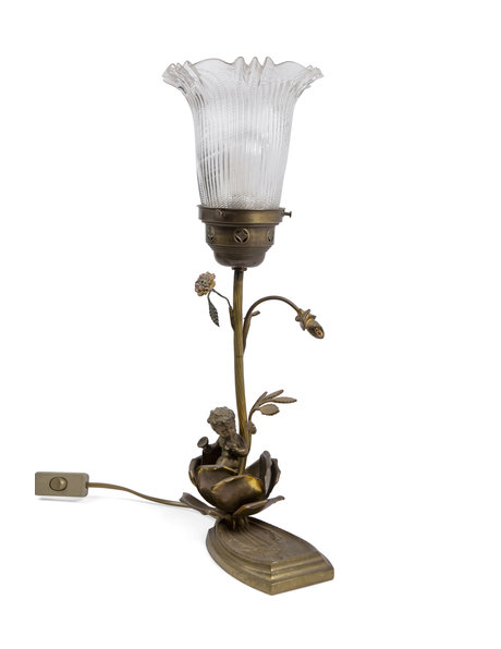 Brocante table lamp with cherub and glass lampshade