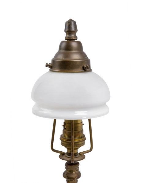 Copper table lamp with white glass shade