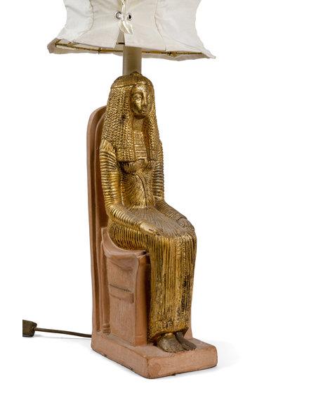 Kitsch table lamp, ceramic Pharaoh, ca.1970