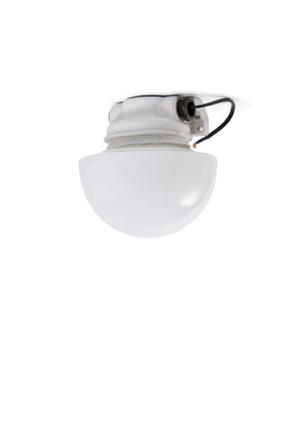 Industrial Ceiling Lamp, White Porcelain and White Glass, 1940s