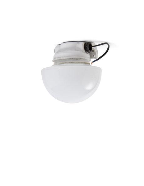 Industriële plafondlamp, paddenstoel vorm, glazen lampenkap, ca.1940