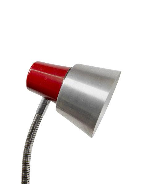 bureaulamp, zilver met rode accenten, klem, ca. 1960