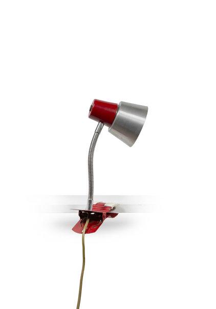 Bureaulamp, Rood en mat Zilver