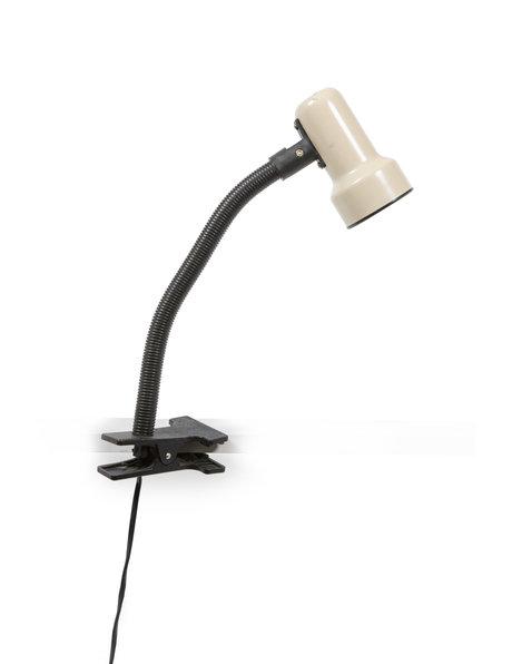 Clip on desk lamp, black and light brownish, 1970s