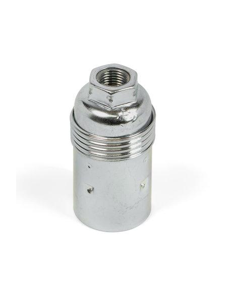 E14 lampfitting, zilverkleurig metaal, gladde buitenzijde