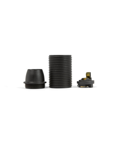 Black lamp socket, E14 fitting,  screw thread on the external