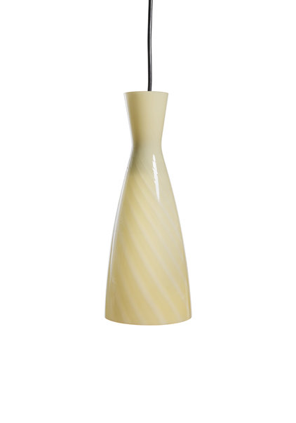 Hanglamp Glas, Lichtgeel met Spiraal, ca. 1960