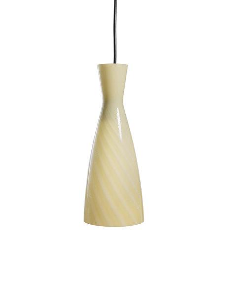 Glazen hanglamp, gele parabool van gedraaid glas