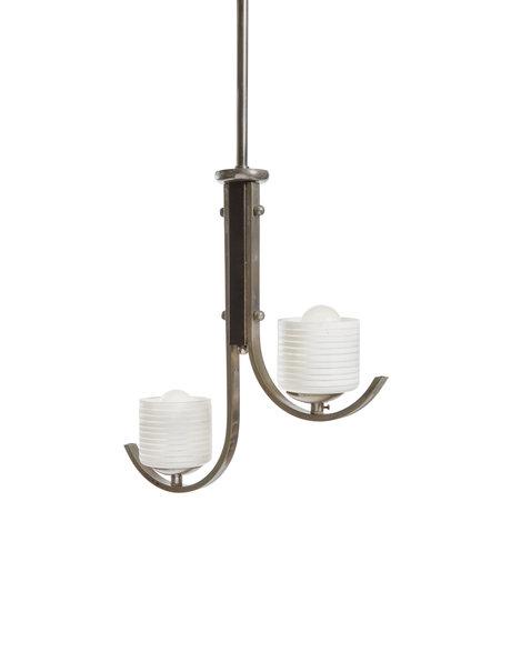 Art Deco hanglamp, 2 wit glazen kapjes, 1940