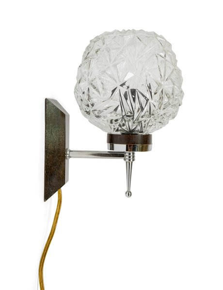 Vintage wall lamp, glass lampshade, ball on stem, ca.1950