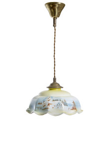 Glass Hanging Lamp with Snow Landscape