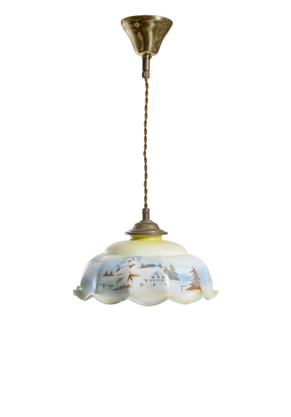 Glass Pendant Lamp with Snow Landscape