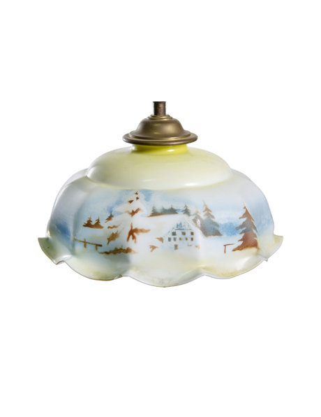Vintage hanging lamp with a snowy landscape, circa 1940