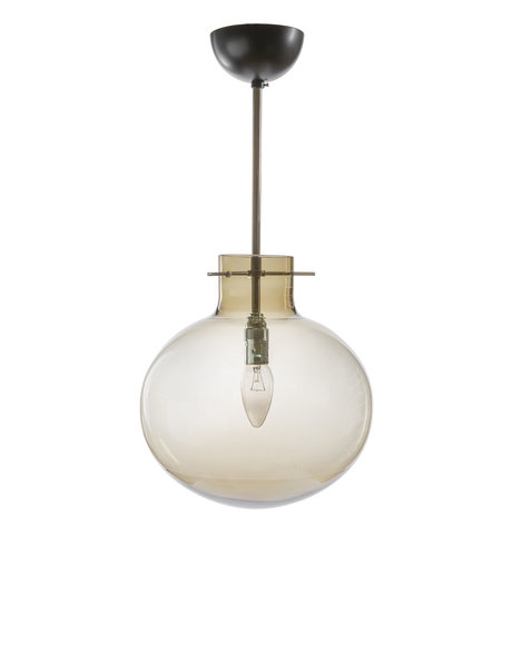 hanging lamp, glass lampshade translucent brown colored, ca. 1960