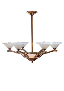 Art-Deco Hanging Lamp, Mother of Pearl Glass Shades
