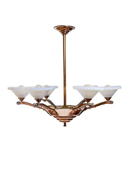 Art-Deco Hanglamp, Parelmoer Glazen Kappen