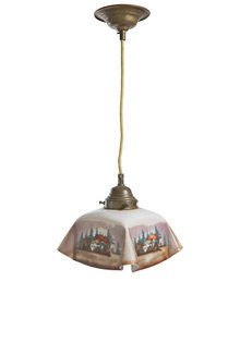 Hanglamp, Vierkanten Glazen Lampenkap, Landschapskapje