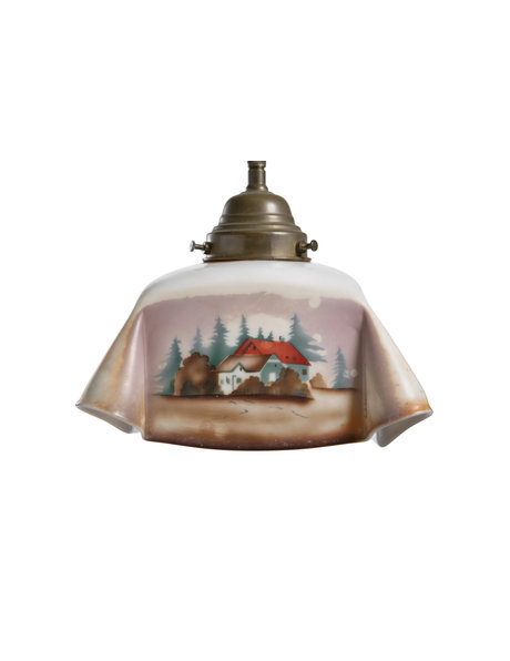 Kitchen lamp with decoratively painted landscape, ca. 1930