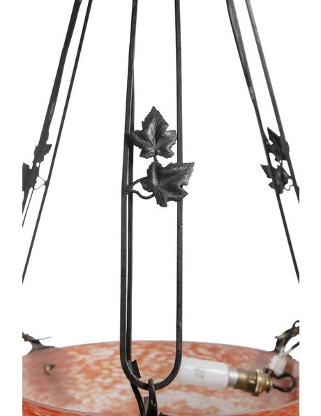 Large hanging lamp, hand-blown glass, wrought iron, ca.1930