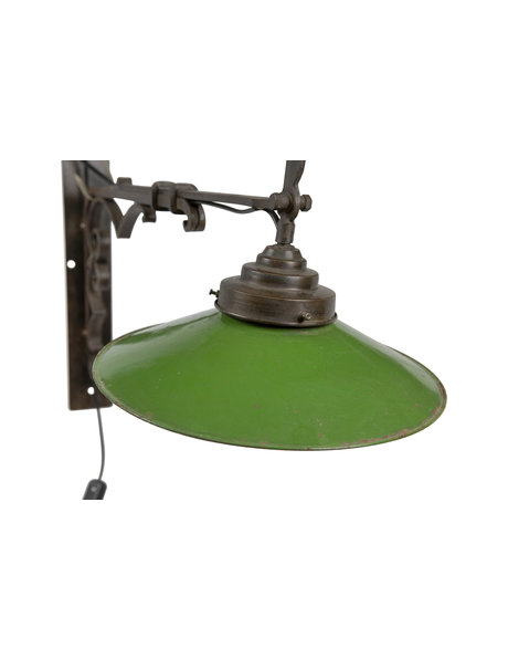 Wrought iron wall lamp with green enamel shade