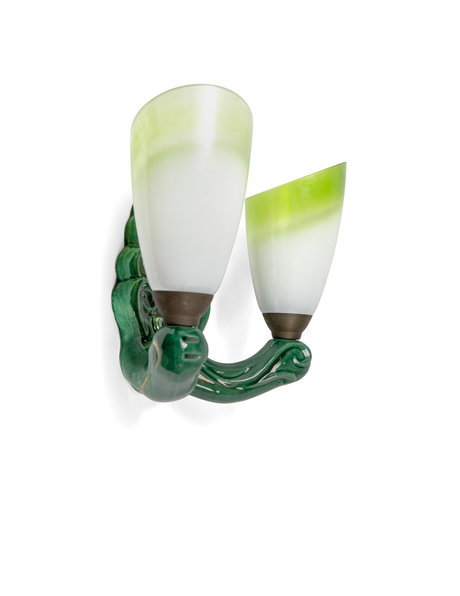 Green ceramic wall lamp with glass shades